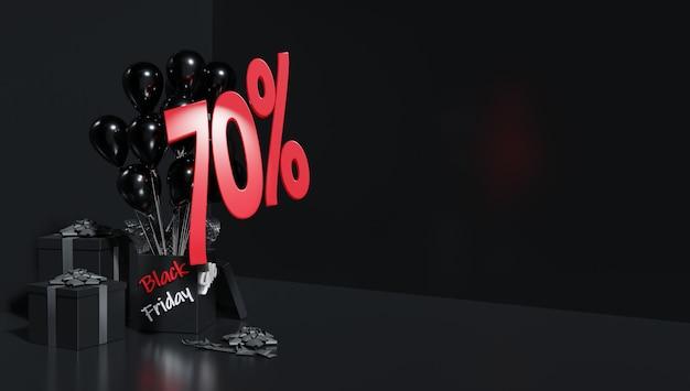 3d рендеринг. скидки на вечеринку в честь черной пятницы. красные цифры на черном фоне