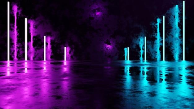 3dレンダリングディスプレイスタンド抽象的な輝くネオンの背景