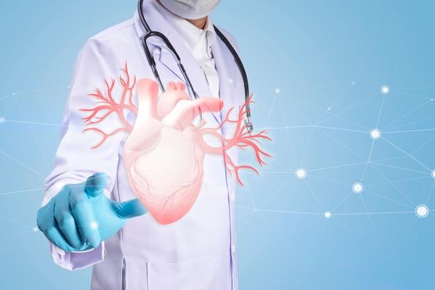 治療の世話をしながら手で心臓に触れる3dレンダリング医師の手