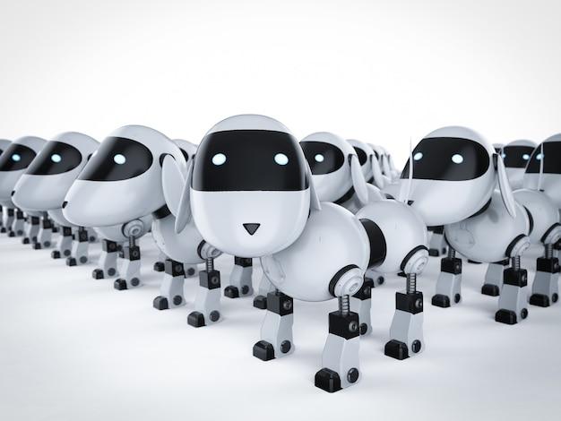 3d-рендеринг собачьего робота в сборе или группа собачьих роботов