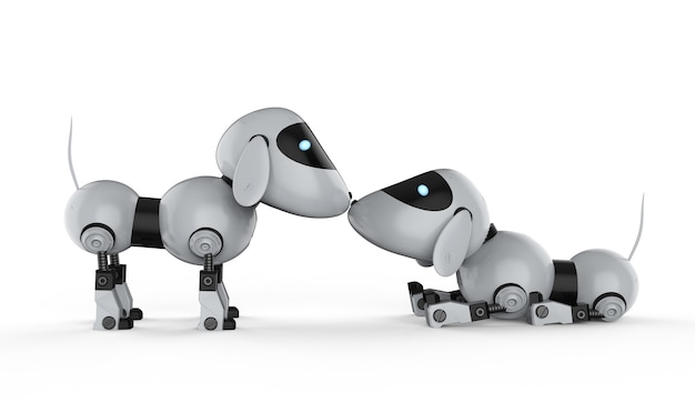 3d рендеринг собака робот запах друг на друга на белом фоне