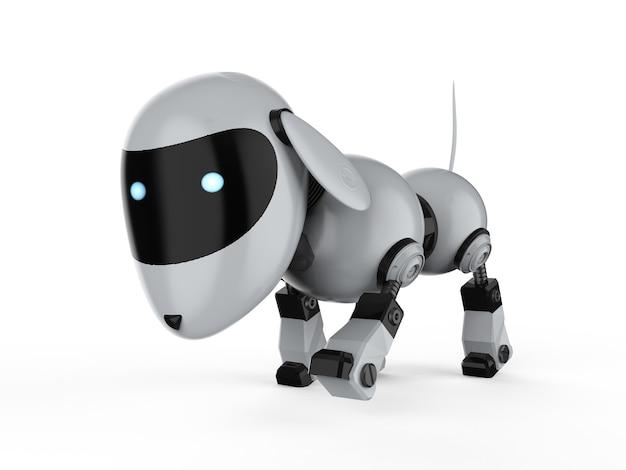 3d рендеринг запах робота собаки на белом фоне