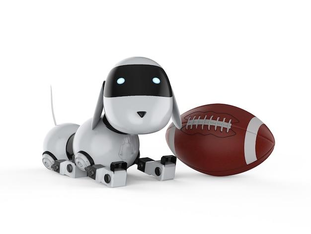 3d-рендеринг собака-робот с мячом для американского футбола