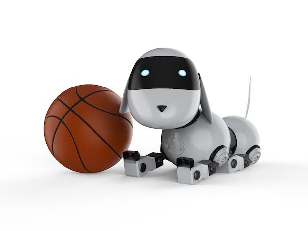 3d рендеринг собака робот с баскетбольным мячом