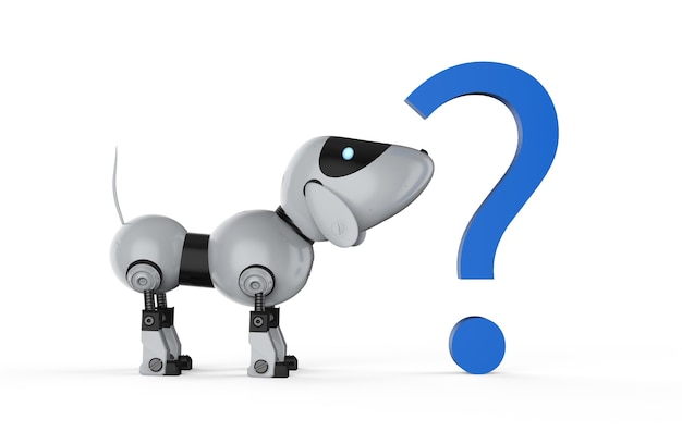 3d rendering dog robot with blue question mark