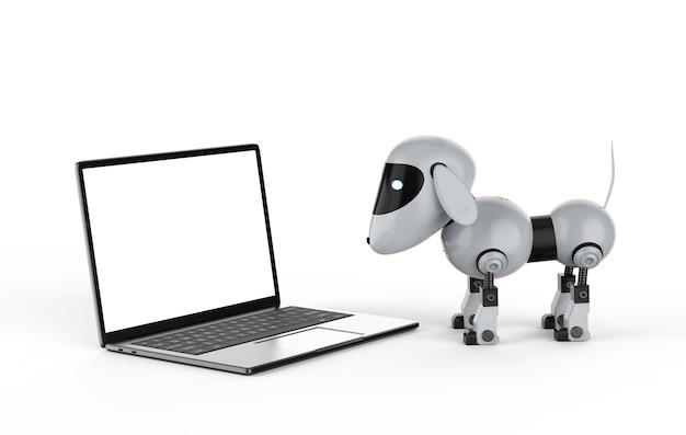 3d рендеринг собака робот с компьютерным ноутбуком
