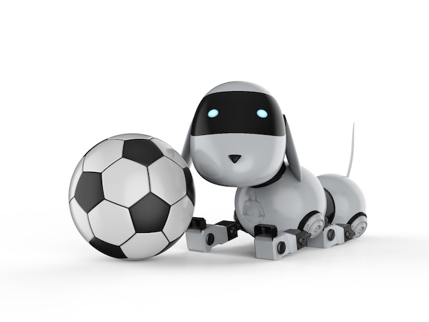 3d rendering dog robot with soccer ball