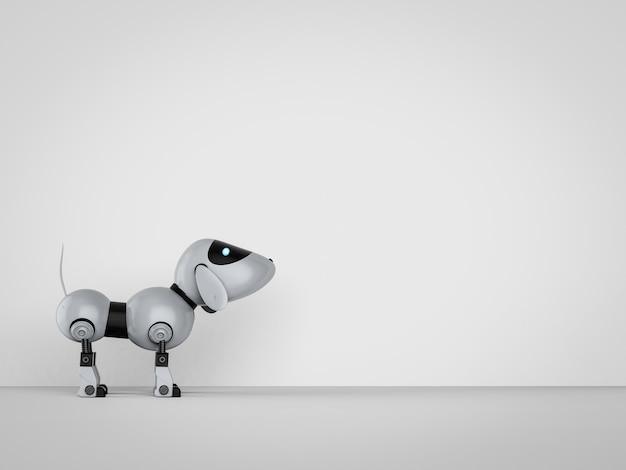 3d-рендеринг робота-собаки с пространством на пустой стене