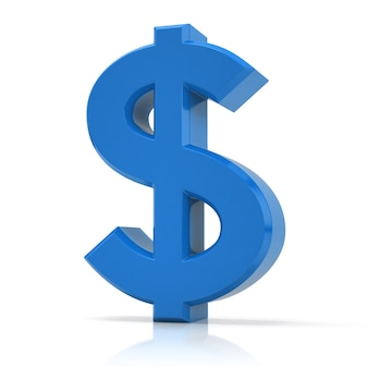 3d визуализация символа доллара, изолированные на белом фоне