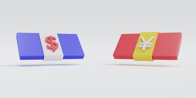 3d-рендеринг: доллар доллар сша против китайского юаня, концепция торговой войны сша и китая и валютной войны