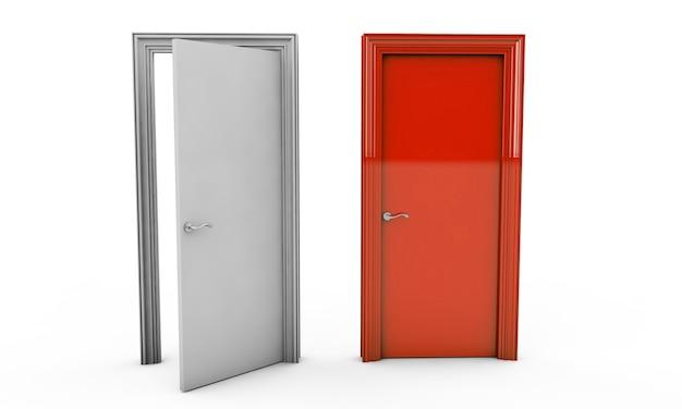 3d rendering of a door standing free on a white floor