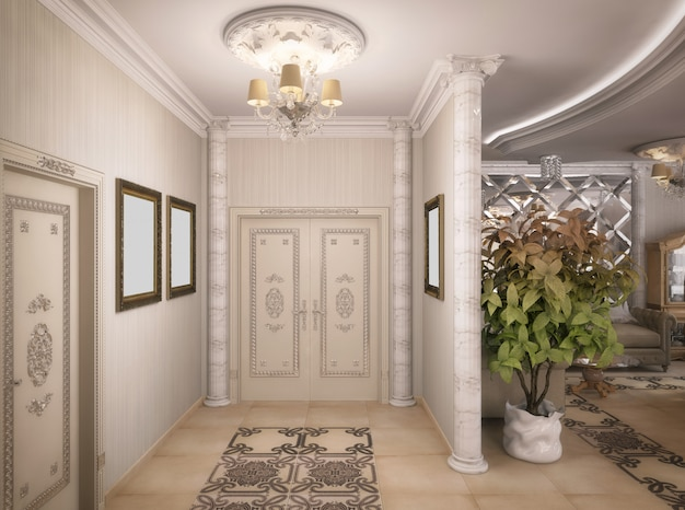 3d rendering of a drawing room, corridor and kitchen in classical style