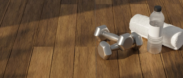 3d rendering, dumbbells on wooden floor in concept fitness room with training equipment