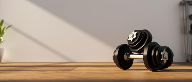 3d rendering, dumbbells on wooden floor in concept fitness room with training equipments