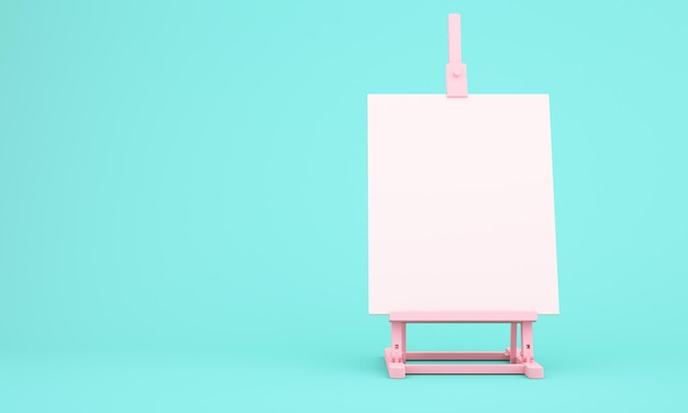 3d rendering of easel on blue background