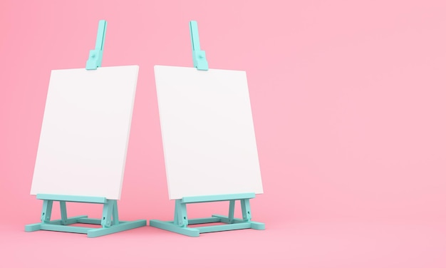 3d rendering of easel on pink background