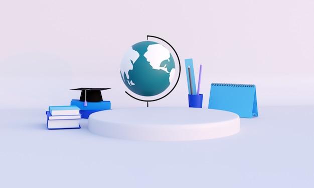 3d 렌더링, 교육 및 학교 개념으로 돌아 가기, 흰색 배경에 편지지