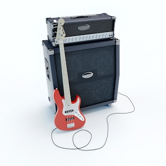 3d rendering of an electric guitar plugged
