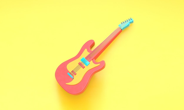3d rendering electric guitar on a yellow background