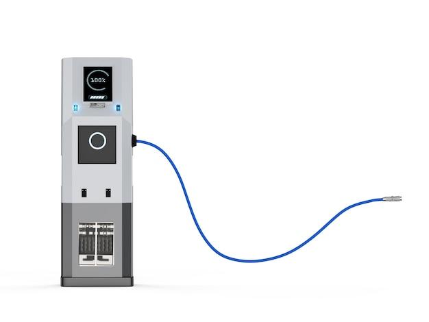 3d рендеринг станции зарядки электромобилей на белом фоне