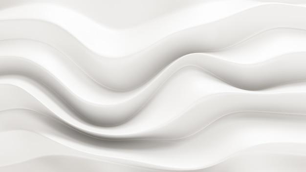 흐르는 패브릭 파도와 3d 렌더링 우아한 흰색 배경