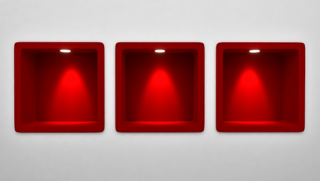 3d rendering of empty 3 rounded red niche shelf display in the wall