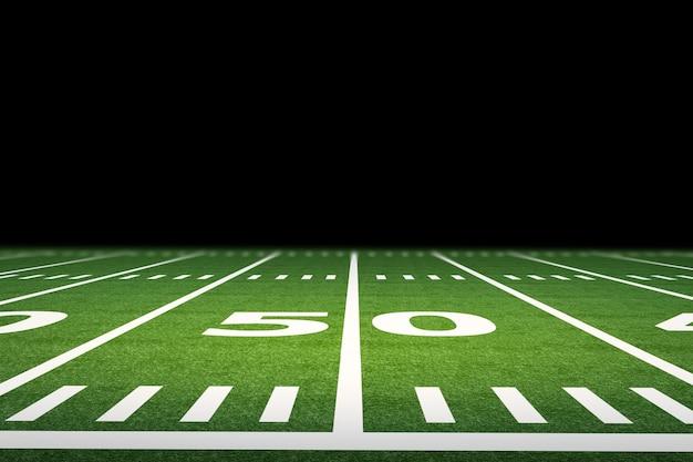 スタジアムで空のアメリカンフットボール競技場を3dレンダリング