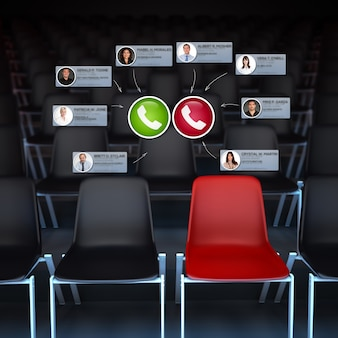 3d rendering of an empty audience with a video conference taking place