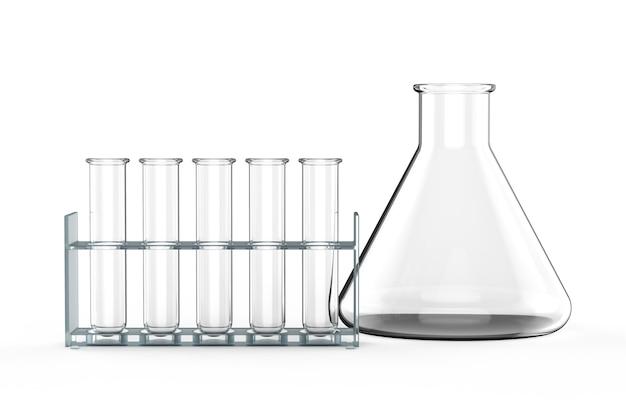 3d-рендеринг пустой стакан и пробирки или лабораторная посуда на белом фоне