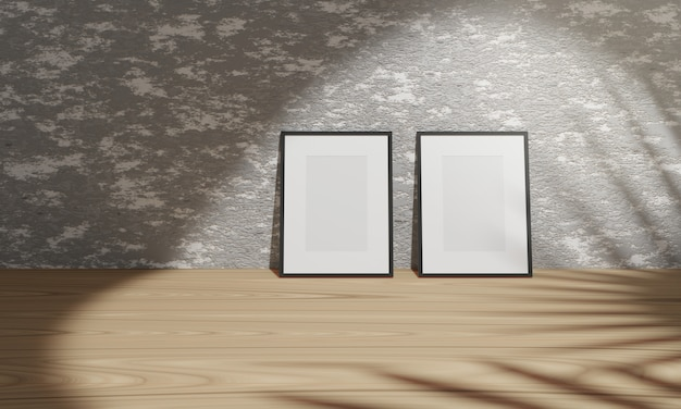 3d rendering empty black frames on concrete wall on ground wood.