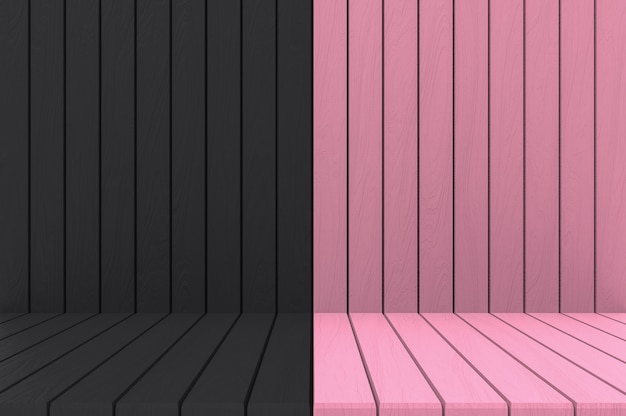 3d rendering. empty black pink wood wall and floor background.