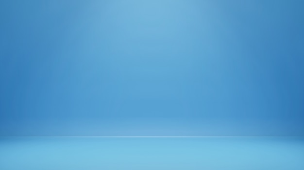 3d rendering, empty blue color studio room background with copy space for display product or banner website