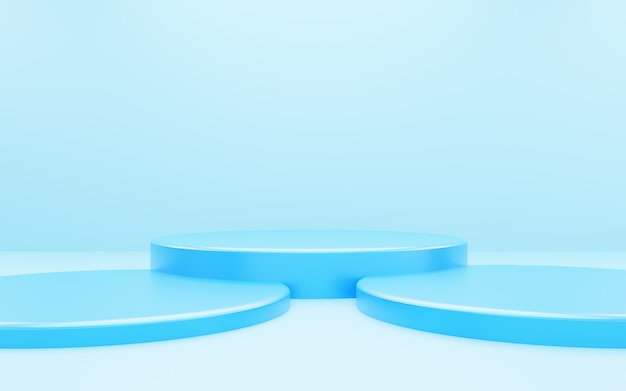 3d rendering of empty blue podium abstract minimal background. scene for advertising design, cosmetic ads, show, technology, food, banner, cream, fashion, kid, luxury. illustration. product display