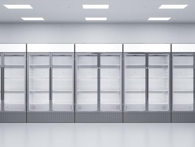 상점에서 3d 렌더링 빈 상업용 냉장고