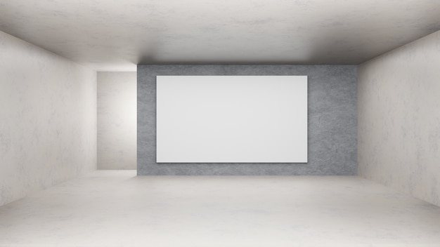 3d rendering. empty concrete room and splatty wall.