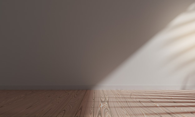 3d rendering empty floor wood and white background