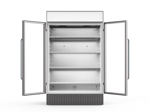 유리 문이 열려 있는 3d 렌더링 빈 냉장고