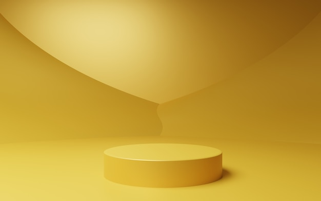 3d rendering of empty gold abstract minimal background scene for advertising design cosmetic ads