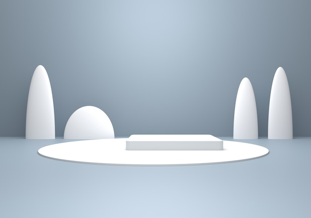 3d rendering of empty gray silver abstract minimal winter concept