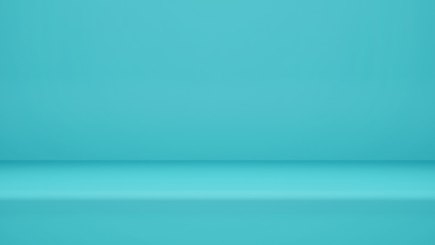 3dレンダリング、ディスプレイ製品またはバナーwebサイト用のコピースペースを備えた空の水色のスタジオルームの背景