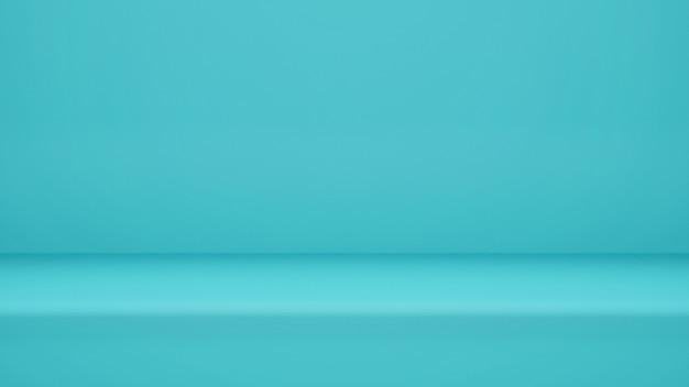 3d 렌더링, 디스플레이 제품 또는 배너 웹 사이트 복사 공간이있는 빈 밝은 파란색 스튜디오 룸 배경