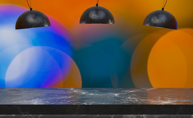 3d rendering,empty marble table for display of products in front of restaurant , night bar or night club abstract blur background,empty copy space for party, promotion social media banners, posters