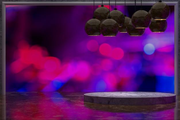 3 dレンダリング、レストラン、ナイトバーまたはナイトクラブの抽象的なぼかしの背景、パーティー、プロモーションソーシャルメディアバナー、ポスターの空のコピースペースの前に製品を表示するための空の大理石のテーブル