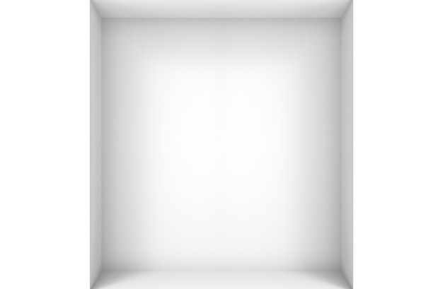 3d rendering. empty modern simple minimal white corner room box wall design background.