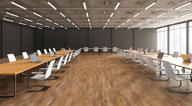 3d rendering empty office space or workspace with computer notebook