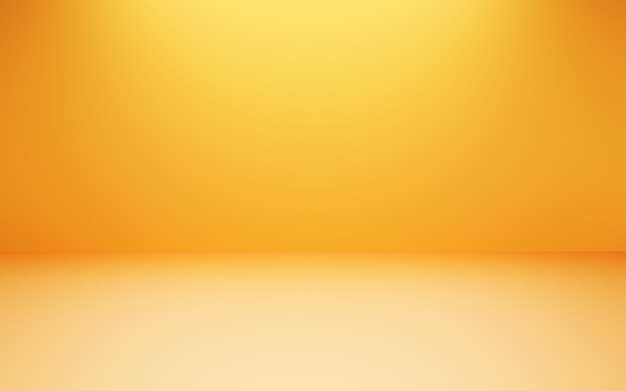3d rendering of empty orange yellow abstract minimal concept background