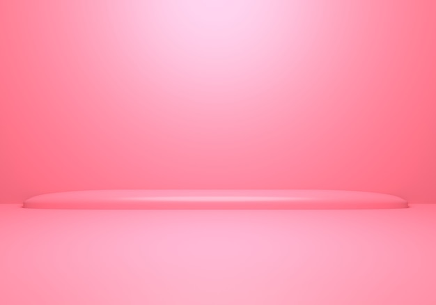3d rendering of empty pink abstract minimal concept background with podium.
