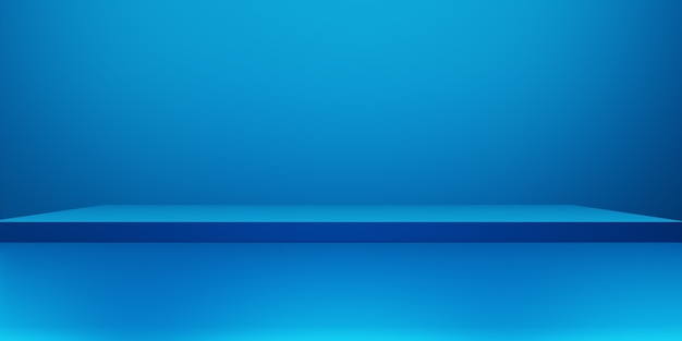 3d rendering of empty podium blue abstract minimal concept