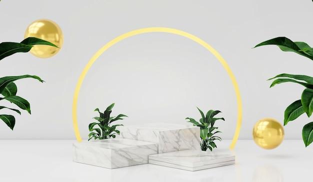 3dレンダリング白い背景に空の表彰台または台座が表示されます空白の製品が背景に立っています