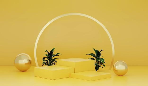 3dレンダリング黄色の背景に空の表彰台または台座が表示されます空白の製品が背景に立っています